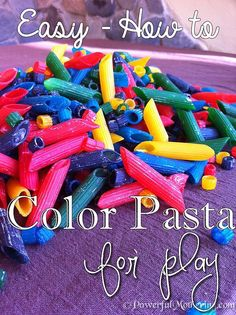 The kids always seem to enjoy playing with colorful things and it is a huge plus for them if they can do multiple things with their new found fascination. Earlier this week we made some color pasta for playing with and I must admit it was a lot easier than I first expected it to be.