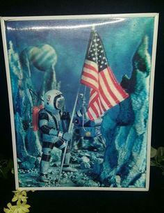 $12.96 or best offer Vtg W.C. Jones Lenticular 3D Photo Japan 1966 Space 1st Step Moon Astronaut
