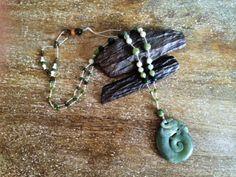 Jade Dragon hippie, boho Pendant