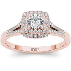 IN LOVE BY BRIDES 1/2 Carat T.W. Certified Diamond Double Halo 14kt Pink Gold Engagement Ring - Walmart.com