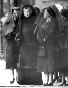The Three Queens. Queen Elizabeth II, Queen Mary, Queen Elizabeth the Queen Mother at King George V's funeral.