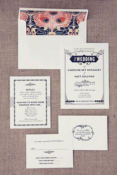 Gatsby wedding invitations via Etsy