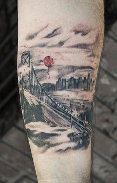 Red Ballon Floating Over Golden Gate Bridge Mens Forearm Tattoo Love Tattoos, Picture Tattoos, Body Art Tattoos, Tattoos For Guys, Tatoos, Incredible Tattoos, Beautiful Tattoos, Awesome Tattoos, Bridge Tattoo