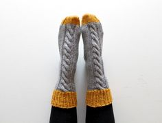 Knitted bed socks 100 merino wool mustard and grey by yiskahknits, £20.00