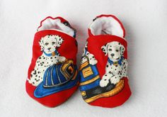 boys fire station/Dalmatian puppy shoes by TheTinyDictator on Etsy