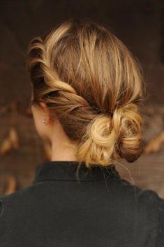 Side braid with messy bun