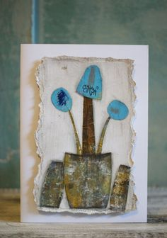 Original. Whimsical. Handmade. Collage. Art Card. { GROW }  * Approx 5X7 in size * Includes A7 envelope * Blank Inside * Packaged inside a