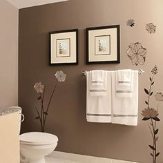 flowers decorative wall decal - idea for bathroom wall & paint colors