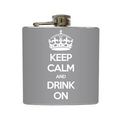 Keep Calm Flask Grey