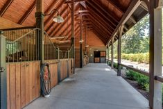 Wood breezeway stable