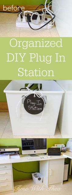 Organized DIY Plug In Station ~ Organize plug ins for devices using labeling and a power bar inserted into a dollar store plastic locker bin. It reduces visual clutter and makes it a lot easier to clean and saves time figuring out which plug in belongs to which device!. It is super inexpensive and easy to make! / timewiththea.com