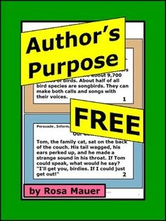 FREE Authors Purpose: These FREE task cards will be a great addition to your classroom. On each card there is a short reading passage. Students are to determine if the authors purpose was to persuade, inform, or entertain. A response form for students and an answer key for the teacher are provided.Click the star above to follow me and receive updates from my store.Check out other products from my store: Plural Nouns Two-Pack Activity Set sarah, Plain and Tall Literacy ActivityEnd of Year…