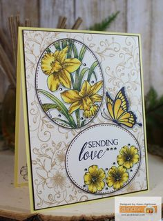 Sending Love - Stamp Tv Kit used for the flowers & the background. Frame & Butterfly are Warm Spring Wishes stamp set  Made for: Gina K. Designs  By: Karen Hightower  http://www.shop.ginakdesigns.com