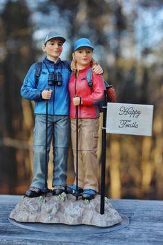 Outdoor Hiker Hiking Walking Wedding Cake Topper Backpack by CarolinaCarla on Etsy https://www.etsy.com/listing/217473812/outdoor-hiker-hiking-walking-wedding