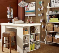 I can see myself working in this space. (Pottery Barn storage).