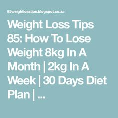 Weight Loss Tips 85: How To Lose Weight 8kg In A Month | 2kg In A Week | 30 Days Diet Plan | ...