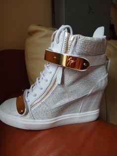 Giuseppe Zanotti Croc Leather Gold Tone Bar Wedge High Top Sneakers