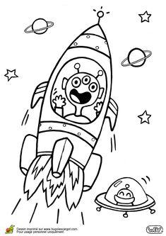 Illustration d'un extra-terrestre emporté par une fusée, à colorier