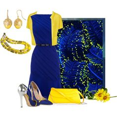 """Blue and Yellow"" by mary-rt on Polyvore"