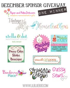 I want to win the big December Sponsor Giveaway at lilblueboo.com  Contest ends 12/20.