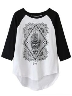 Shop White Palm Print Color Block Sleeve T-shirt from choies.com .Free shipping Worldwide.$18.99