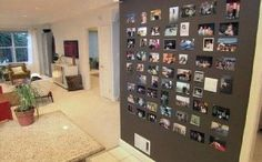 Magnetic wall paint = good way to display photos in a flexible and ever changing fashion.