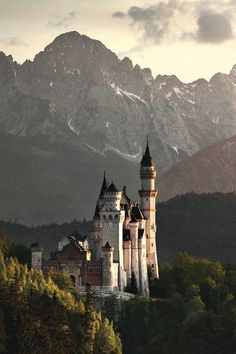 Sunset in Neuschwanstein Castle, Bavaria, Germany