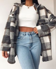 Trendy Fall Outfits, Cute Comfy Outfits, Winter Fashion Outfits, Retro Outfits, Simple Outfits, Look Fashion, Stylish Outfits, Fashion Beauty, Flannel Fashion
