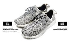 「yeezy boost 350 Real Fake Comparison」の画像検索結果