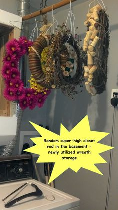 wreath storage with dry cleaning hanger leftovers