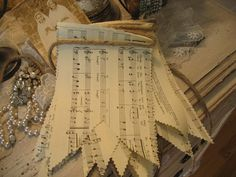 Sweet Vintage Sheet Music Banner~ Each is handmade by me over 6 ft Length. French Christmas, Christmas 2017, Christmas Time, Book Crafts, Paper Crafts, Music Paper, Paper Banners, Diy Banner, Diy Tassel