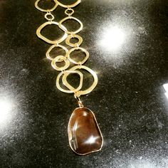 Fashionable long necklace chain and semiprecious stone