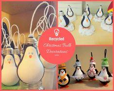Recycled Crafts Kids, Crafts For Kids, Diy Crafts, Christmas Projects, Christmas Crafts, Christmas Bulbs, Christmas Ideas, Recycled Christmas Decorations, Garden Shelves