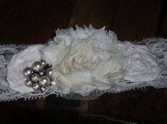 Ivory Bridal Garter with Rhinestone and Pearl by DESIGNERSHINDIGS, $12.00
