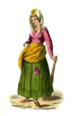 """Dutch peasant - female costume from 15th century"""
