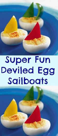 Super Fun Deviled Egg Sailboats are so creative, healthy and easy to make. Great finger food idea for a party. Super Fun Deviled Egg Sailboats are great for a snack or party. You can use red, yel… Food Styling, Kreative Snacks, Kids Meals, Easy Meals, Good Food, Yummy Food, Fun Food, Snacks Für Party, Party Appetizers