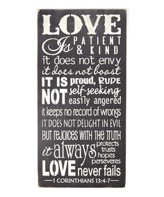 Look at this 'Love Is Patient...' Wall Sign on #zulily today!