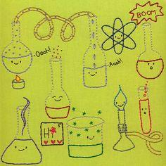 Happy Chemistry embroidery pattern PDF by ShinyHappyWorld on Etsy, $5.00