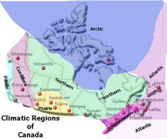 Map drawing of the climatic regions of Canada.