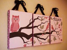 simple canvas paintings | Set of 3 - CUSTOM Owl in Tree Painting On Canvas - 14 x 18 x 1.5 inch