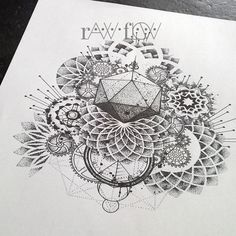 Abstract dotwork mandala tattoo gears and cogs geometry