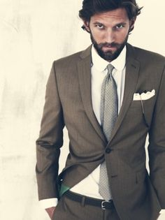 neutral suit and tie