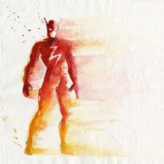 The Flash Watercolor Art Print. Love the faded edges and ómbre with redband yellow.