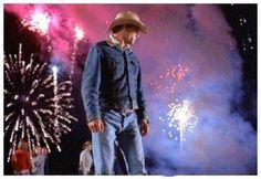 fireworks & cowboy hat