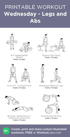 Wednesday - Legs and Abs: my visual workout created at WorkoutLabs.com • Click through to customize and download as a FREE PDF! #customworkout