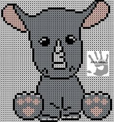 This little guy is made of 6 square plates, and holds about beads. Gray: Rosa: Tip: Beginning with the black and start completely at the edge right, otherwise it will not be there. Fuse Bead Patterns, Perler Patterns, Beading Patterns, Cross Stitch Patterns, Hama Beads Animals, Beaded Animals, Perler Bead Art, Perler Beads, Pixel Crochet