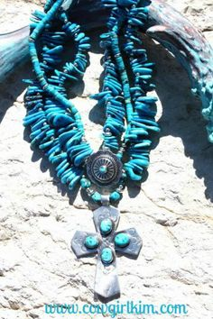 "Jewelry :: LONE EAGLE STUDIOS "" SANTA FE SKY "" TURQUOISE NECKLACE & EARRING SET! - Native American Jewelry