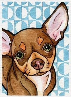 Chihuahuas are excellent pets, but a dog owner must bear in mind that the Chihuahua lifespan is shorter compared to human lifespan. That said it is important that the owner to make sure that his/her Chihuahua has a long and happy life. Chihuahua Drawing, Chihuahua Puppies, Dachshund, Dog Paintings, Dog Portraits, Little Dogs, Beautiful Dogs, Dog Art, Oeuvre D'art