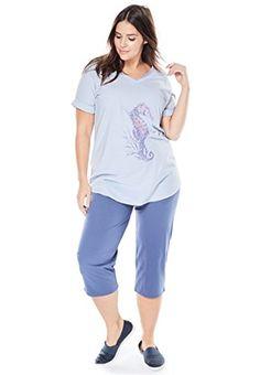 Fashion Bug Women's Plus Size Knit Capri Pants Set