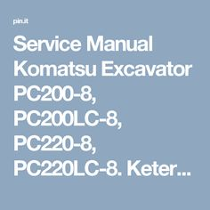cd service manual komatsu hydraulic excavator pc200 7 pc200lc 7